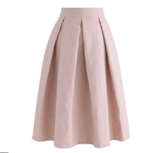 Chicwish LIGHT PINK JACQUARD A-LINE PLEATED MIDI SKIRT - Best Skirts for Pear Shape: Hand Wash Cold