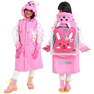 LINFON Girls Boys Raincoat Suit - Best Raincoats for Toddlers: It features a loose schoolbag bit