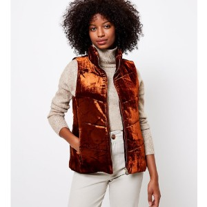 LOFT Velvet Puffer Vest - Best Down Vests for Women: Modern Look Velvet Vest