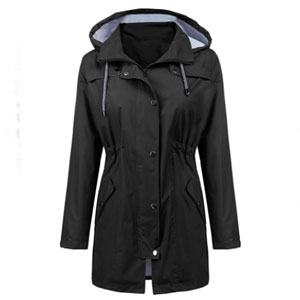 LOMON Waterproof Long Hooded Trench Coats - Best Raincoats for Hot Weather: Rain and sun protection jacket