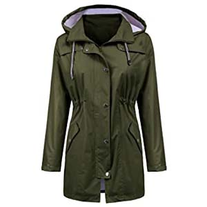 LOMON Raincoat Women Waterproof Long Hooded - Best Raincoats with a Suit: Protects your back
