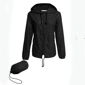 LOMON Store Packable Outdoor Hooded Rain Jacket - Best Raincoats for Work: Drawstring hooded and drawstring hem