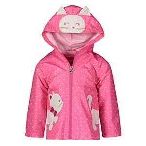 LONDON FOG Girls' Toddler Midweight Rain Jacket - Best Raincoats for Toddlers: Zippered pockets