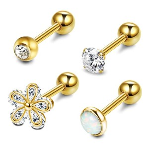 LOYALLOOK 4-6Pcs CZ Barbell Earring - Best Jewelry for Conch Piercing: Low budget, high-quality