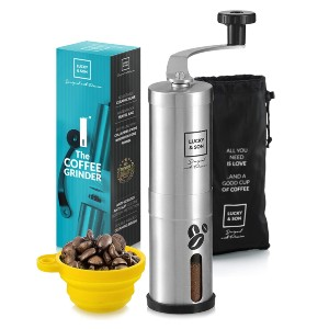 LUCKY & SON Portable Mini Burr Grinder Mill for Travel - Best Portable Coffee Grinder: 18 Click Settings Grinder