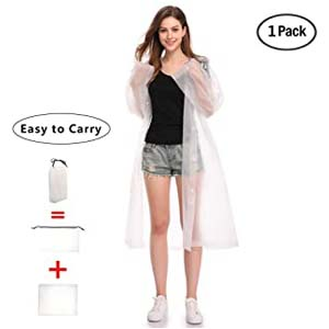 LYSHION Portable Clear Transparent Raincoat Poncho - Best Raincoats for Disney: Roomy and keeps your nightmare away