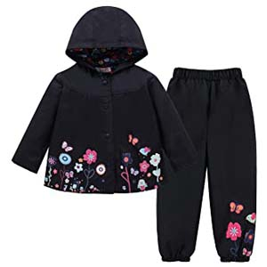 LZH Toddler Girls Raincoat - Best Raincoats for Toddlers: Enchanting floral pattern