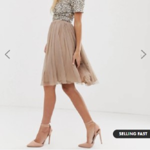 Lace & Beads  tulle midi skirt in taupe - Best Skirts for Pear Shape: A Standard Cut for A Classic Shape
