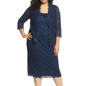 ALEX EVENINGS Lace Cocktail Dress with Jacket - Best Party Dress for Plus Size: Elegant with a classic touch