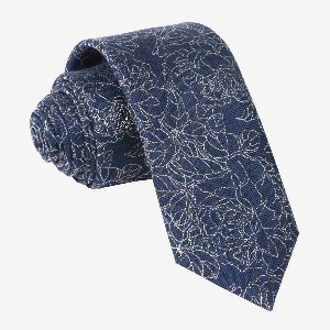 Tie Bar Lace Floral Navy Tie - Best Ties for Navy Suit: Completely handcrafted