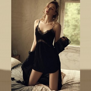 Lulacola Lace Trim Velvet Cami Nightdress With Panties - Best Pajamas for Hot Sleepers: Best for budget