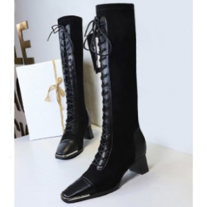 Zaful Lace Up Patchwork Knee Length Boots - Best Boots for Women: Chunky Heel Boots