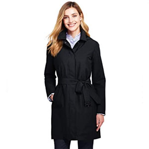 Lands' End Store Women's Hooded Waterproof Long Raincoat - Best Raincoats for Florida: Stylish design raincoat