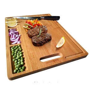 HHXRISE Large Organic Bamboo Cutting Board - Best Cutting Boards for Raw Meat: With 3 small compartments