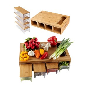 BAMBOO LAND Large Bamboo Cutting Board with Trays - Best Cutting Board with Trays: Great organizers