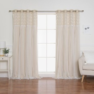 Laurel Foundry Modern Farmhouse® Jacksonburg Lace Overlay Nature/Floral Blackout Thermal Grommet Curtain Panels - Best Curtains for Bedroom: Thermal Insulation Curtain