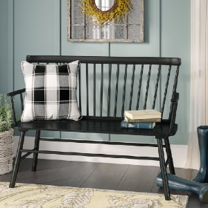 Laurel Foundry Modern Farmhouse® Carnany Lower Solid Wood Bench - Best Entryway Benches: Classic and Traditional Bench