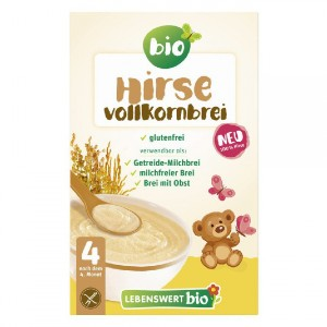 Lebenswert Bio Organic Millet Whole-Grain Mash - Best Organic Baby Foods: Instant Preparation. Ready in Minutes