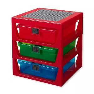 LEGO 3-Drawer Storage Rack in Red - Best Storage Container for Legos: Excellent integrated baseplate