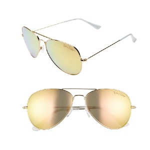 Lilly Pulitzer Lexy 59mm Polarized Aviator Sunglasses - Best Sunglasses for Round Face: Sleek Polished Frames