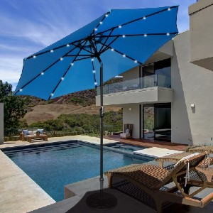 Charlton Home® Lighted Market Umbrella - Best Patio Umbrellas with Lights: Up to 12 hours lighting