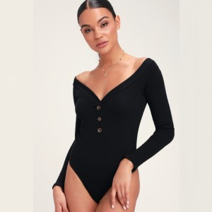 Lulus Lilyth Black Ribbed Off-the-Shoulder Bodysuit - Best Off The Shoulder Tops: Snappy tortoise buttons
