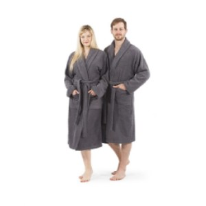 Linum Home Textiles Turkish Cotton Terry Unisex Bathrobe - Best Robes for Hot Tub: Extra-Thick Robe