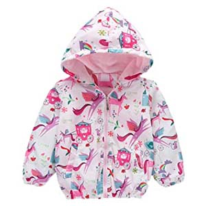 Little Hand Girls Cartoon Unicorn Jackets - Best Raincoats for Toddlers: Unicorn and flamingo pattern