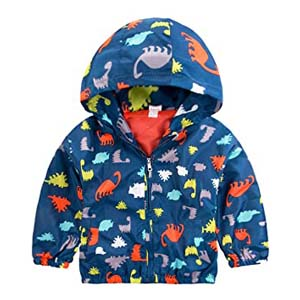 Little Hand Little Boys Dinosaur Printed Jacket Coat - Best Raincoats for Toddlers: Enduring color and pattern