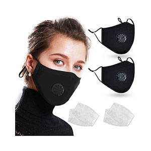 Loisuzn Cotton Face Macks Bandana Shields - Best Masks for Glasses Wearers: Breathing Valve and Adjustable Ear Loop