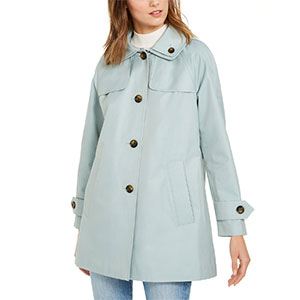 LONDON FOG Petite Hooded Raincoat - Best Raincoats for Petites: Two Pockets at Front and