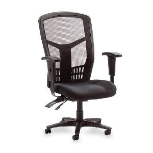 Lorell Store High-Back Chair Mesh Black Fabric Seat - Best Office Chair Under $300: Back Angle Adjust Independently