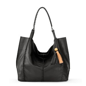 The Sak Los Feliz Large Leather Tote - Best Tote Bags for Women: Removable Handcrafted Wood Bead Tassel