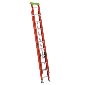 Louisville Ladder 20 ft. Fiberglass Extension Ladder  - Best Extension Ladders for Home Use: Steel Swivel Safety Shoe with Metal Shield
