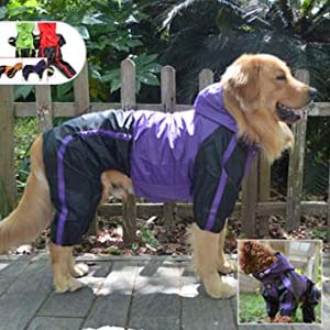 lovelonglong Dog Hooded Raincoat - Best Raincoats for Big Dogs: Protected from head to legs