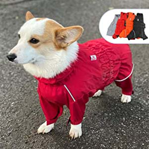 lovelonglong Dogs Waterproof Jacket - Best Raincoats for Corgis: Full protection with vivid color