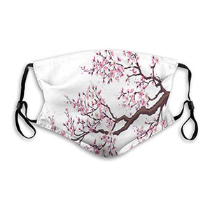 LucaSng Branch Of A Flourishing Sakura Tree  - Best Masks for Glasses Wearers: Theme Art Fashion Mask