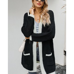 Lulucola Contrast Trim Open Front Cardigan - Best Cardigans for Petites: Simple Black and White Cardigan