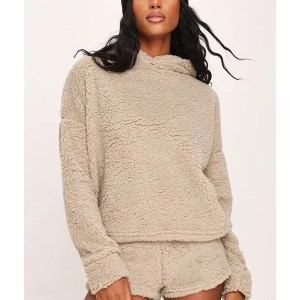 Lulucola Soft Teddy Two-Piece Outfit - Best Hoodie for Cold Weather: Apricot Hoodie and Shorts