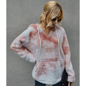 Lulucola Tie Dye Fuzzy Thicken Hoodie - Best Hoodie for Cold Weather: Colorful Hoodie