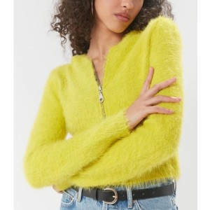 Lulucola Mohair Zip Up Hooded Cropped Cardigan - Best Cardigans for Women: Unique Mohair Cropped Cardigan