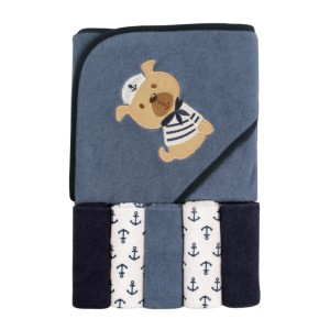 Luvable Friends Sailor Dog - Best Bath Towels for Baby: Made of Cotton-Rich Absorbent Knit Terry
