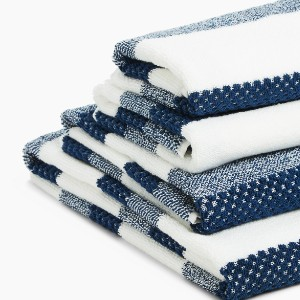 M & S Pure Cotton Striped Textured Towel - Best Bath Towel: Towel with StayNew™ technology
