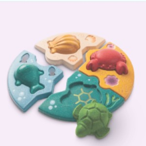 Plan Toys MARINE PUZZLE - Best Wooden Puzzles for Toddlers: Can be Used for Free Play and Storytelling