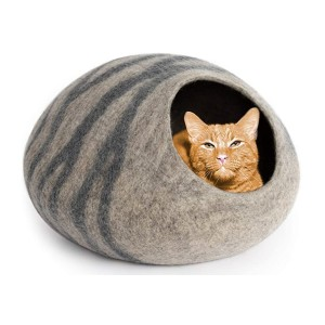 MEOWFIA Premium Felt Cat Bed Cave  - Best Cat Beds for Kittens: A cat cave or a padded mat? Both
