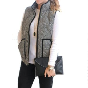 MEROKEETY Women's Slim Fall Quilted Herringbone Puffer Vest with Zipper  - Best Down Vests for Women: Washable Vest