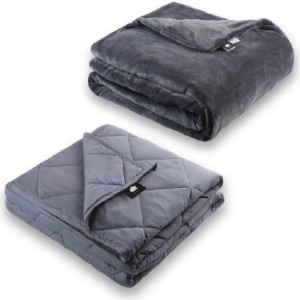 DREAMality MICROPLUSH FLEECE WEIGHTED BLANKET SET - Best Weighted Blanket for Hot Sleepers: Breathable Cotton-Nano Glass Matrix