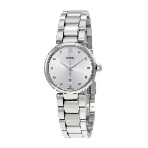 Mido Baroncelli Silver Diamond Dial Ladies  - Best Formal Watches for Ladies: 11 diamond hour markers