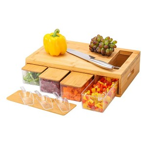 MJM Wood Chopping Board with Container - Best Cutting Board with Trays: You'll get extra spoons!