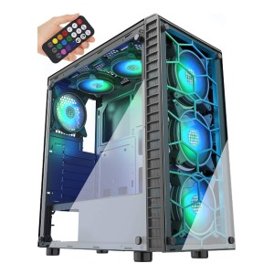 MUSETEX Phantom Black - Best Cable Management PC Case: Voice-Activated Fan with Remote Control